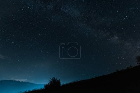 milky way with shining stars on blue sky at night