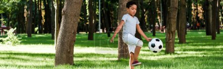 Photo for Panoramic shot of cute african american child playing football on grass - Royalty Free Image