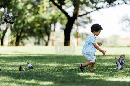 Photo pour Adorable enfant afro-américain gesticulant tout en regardant des pigeons - image libre de droit