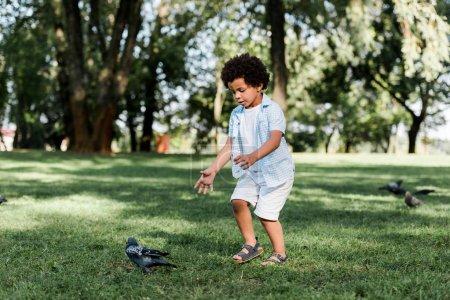 Photo pour Mignon afro-américain enfant geste tout en regardant les pigeons - image libre de droit