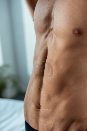 Photo for Cropped view of young and sexy man at home - Royalty Free Image