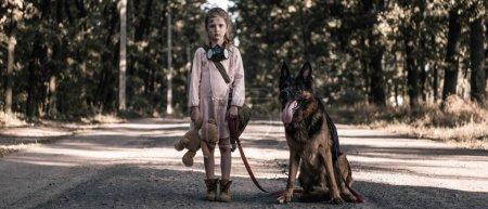 Photo pour Photo panoramique d'un enfant debout sur la route avec un ours en peluche et un berger allemand, concept post-apocalyptique - image libre de droit