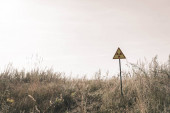 "Постер, картина, фотообои ""triangle with warning toxic symbol near field, post apocalyptic concept"""