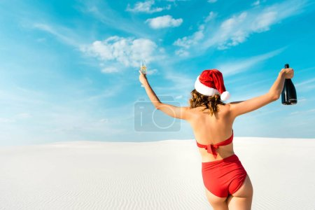 Foto de Back view of sexy woman in santa hat and swimsuit holding champagne glass and bottle on beach in Maldives - Imagen libre de derechos