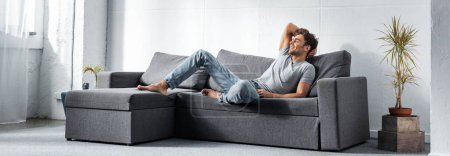 Photo for Panoramic shot of handsome and smiling man lying on sofa - Royalty Free Image