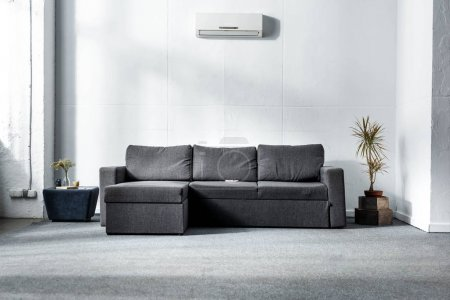 Photo for Grey sofa near green plants in modern living room - Royalty Free Image