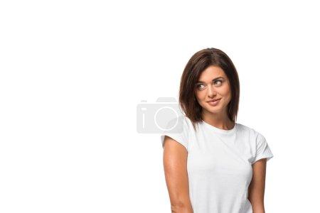 brunette smiling girl in white t-shirt, isolated on white