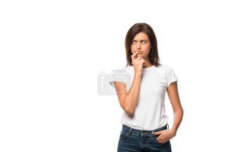 Photo for Attractive thoughtful woman in white t-shirt, isolated on white - Royalty Free Image
