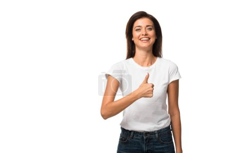 Photo for Smiling woman in white t-shirt showing thumb up, isolated on white - Royalty Free Image