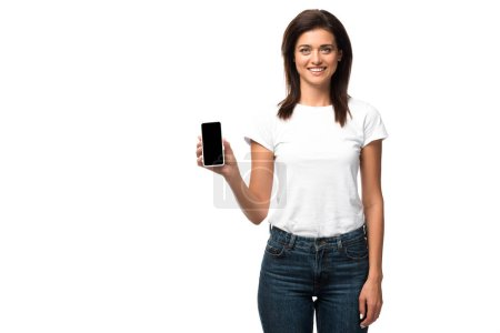 Photo for Cheerful woman showing smartphone with blank screen, isolated on white - Royalty Free Image