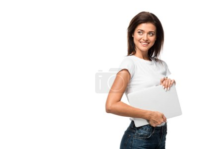 beautiful smiling woman holding laptop, isolated on white