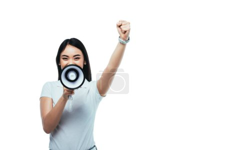 Photo for Asian girl screaming in megaphone isolated on white - Royalty Free Image