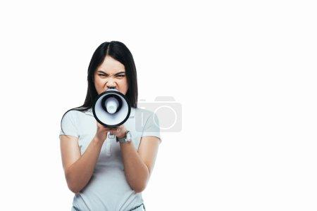 Photo pour Colère asiatique fille hurler dans mégaphone isolé sur blanc - image libre de droit