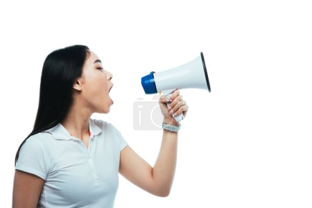 Photo for Angry asian girl screaming in megaphone isolated on white - Royalty Free Image