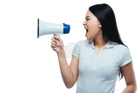 angry asian girl screaming in megaphone isolated on white