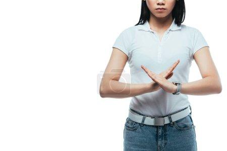 Photo pour Crochet vue de fille asiatique ne montrant aucun geste isolé sur blanc - image libre de droit