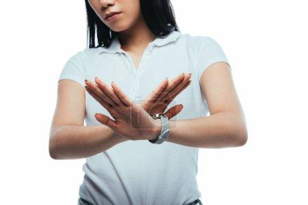 Foto de Vista parcial de chica asiática que no muestra ningún gesto aislado en blanco - Imagen libre de derechos