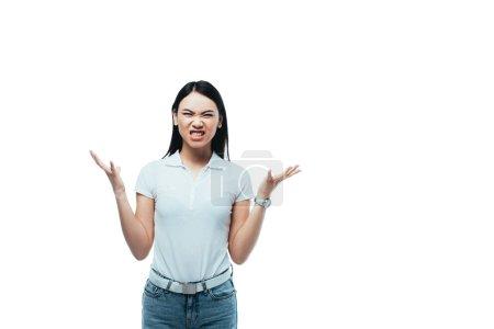 Photo pour Colère asiatique fille montrant dents et geste isolé sur blanc - image libre de droit