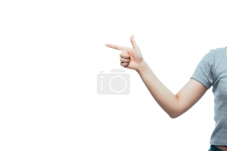 cropped view of girl pointing with finger isolated on white
