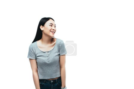 Photo for Happy asian girl looking away isolated on white - Royalty Free Image