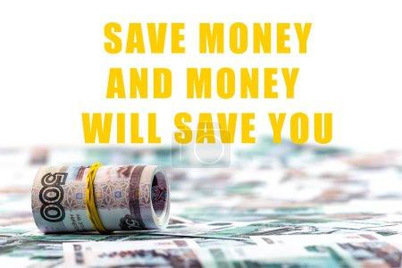 Photo pour Sélectivité du rouleau de rouleau de rouleau russe isolé sur blanc avec jaune épargner de l'argent et de l'argent vous épargnera l'illustration - image libre de droit