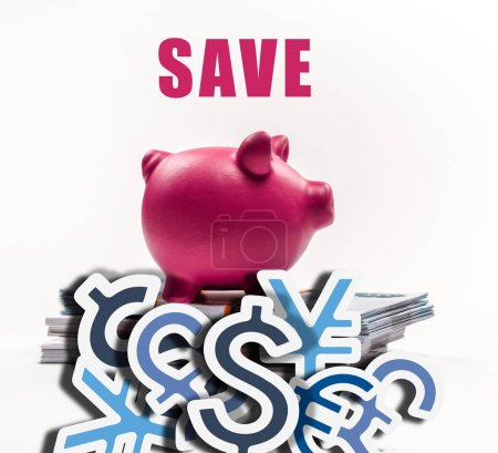 Photo pour Pink piggy bank on stack of russian rubles on white background with save money illustration - image libre de droit