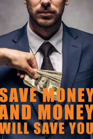Foto de La visión errónea de que el hombre que pone dinero en el bolsillo de los hombres de negocios con el ahorro de dinero y el dinero le ahorrará ilustración. - Imagen libre de derechos