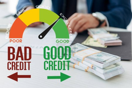 Photo for Partial view of businessman signing contract near money in office with credit score illustration - Royalty Free Image