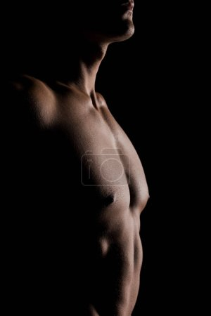 Photo for Cropped view of shirtless man posing isolated on black - Royalty Free Image