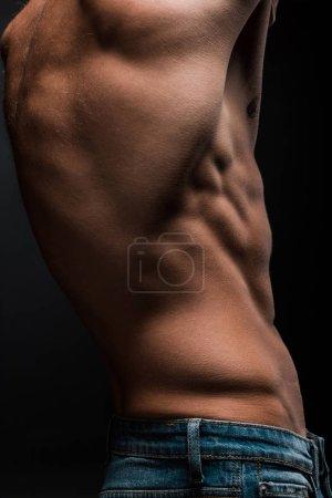 Photo pour Vue partielle d'un torse masculin sans chemise isolé sur noir - image libre de droit