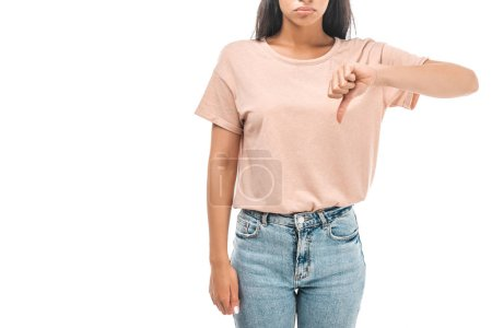 cropped view of dissatisfied african american woman showing thumb down isolated on white