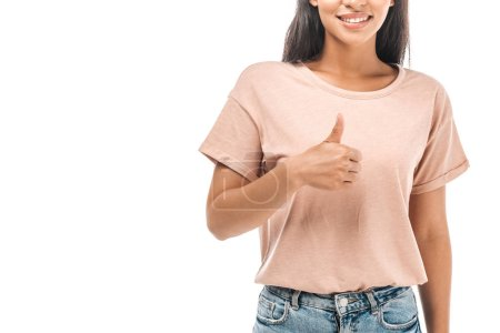 cropped view of smiling african american woman showing thumb up isolated on white
