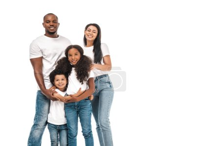 Photo for Happy african american parents with daughter and son smiling at camera while standing isolated on white - Royalty Free Image