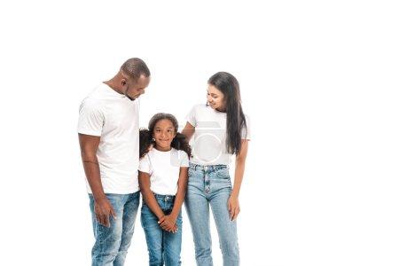 Photo pour Heureux afro-américain homme et femme regardant adorable, fille souriante isolé sur blanc - image libre de droit