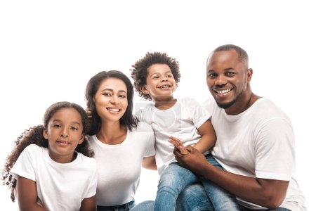 Photo for Happy african american family smiling at camera isolated on white - Royalty Free Image