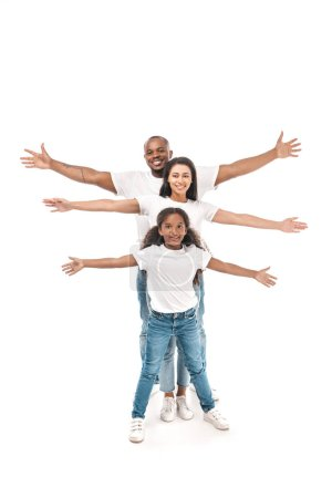 Photo for Cheerful african american kid with parents imitating flying with outstretched hands on white background - Royalty Free Image