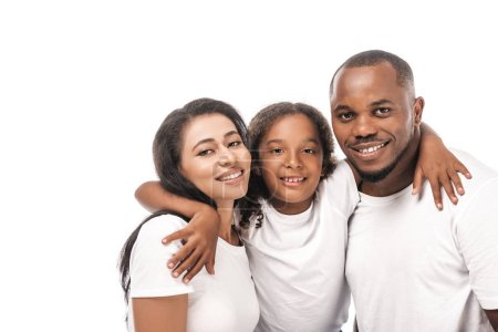 Photo for Happy african american child hugging smiling parents isolated on white - Royalty Free Image