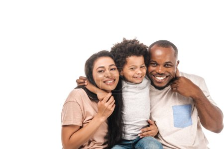 Photo for Happy african american boy hugging parents and smiling at camera isolated on white - Royalty Free Image