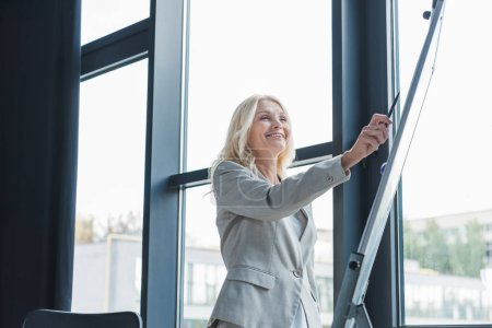 attractive mature businesswoman standing near window and pointing with pen at flipchart during business meeting