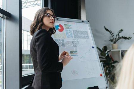 Photo pour Une jeune femme d'affaires se tient près d'un tableau à feuilles mobiles avec infographie pendant une réunion d'affaires - image libre de droit