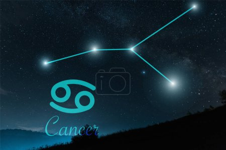 Photo for Dark landscape with night starry sky and cancer constellation - Royalty Free Image