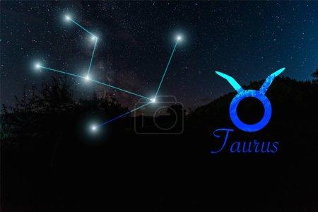 Photo pour Paysage sombre avec ciel étoilé nocturne et constellation de Taureau - image libre de droit