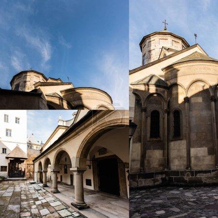 Photo pour Collage de la cour intérieure du monastère de carmélite et cathédrale arménienne contre le ciel bleu à Lviv - image libre de droit