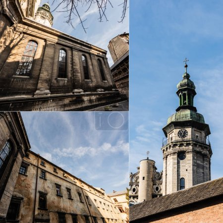 Photo for Collage of inner yard of bernardine monastery and korniakt tower against blue sky - Royalty Free Image