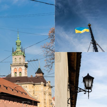 Photo for Collage of korniakt tower, ukrainian flag and street lamp against blue sky - Royalty Free Image
