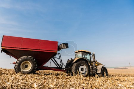 Photo pour Tracteur sur champ doré contre ciel bleu - image libre de droit