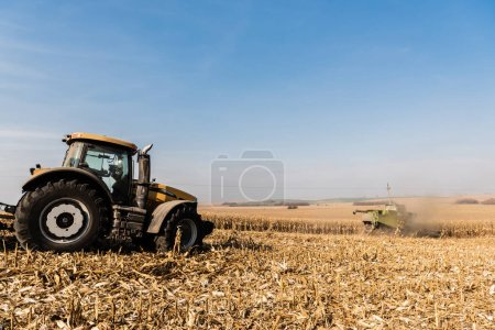 Photo for Tractors harvesting golden field against blue sky - Royalty Free Image