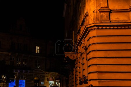 Photo for Selective focus of old building at night city - Royalty Free Image