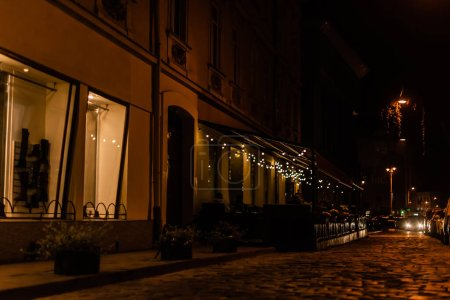 Photo for Plants near cafe with terrace on dark street - Royalty Free Image