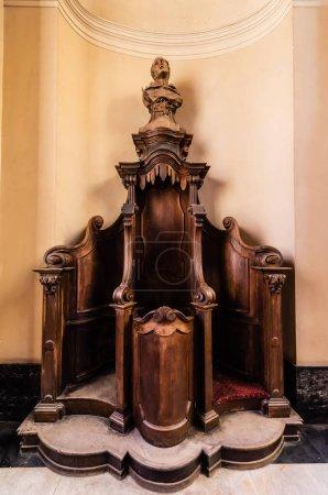 LVIV, UKRAINE - OCTOBER 23, 2019: wooden confessional in dominican church